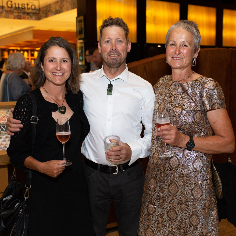 Jen Parr, with  husband Callum  and Belinda Gould