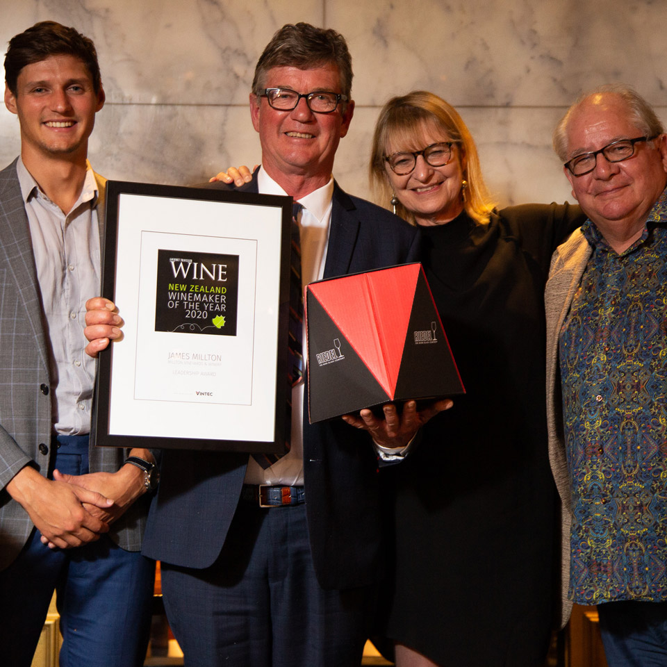 James Millton,  the Leadership  Award winner, with Thibaut Caumont, Judy Sarris and  Bob Campbell MW.