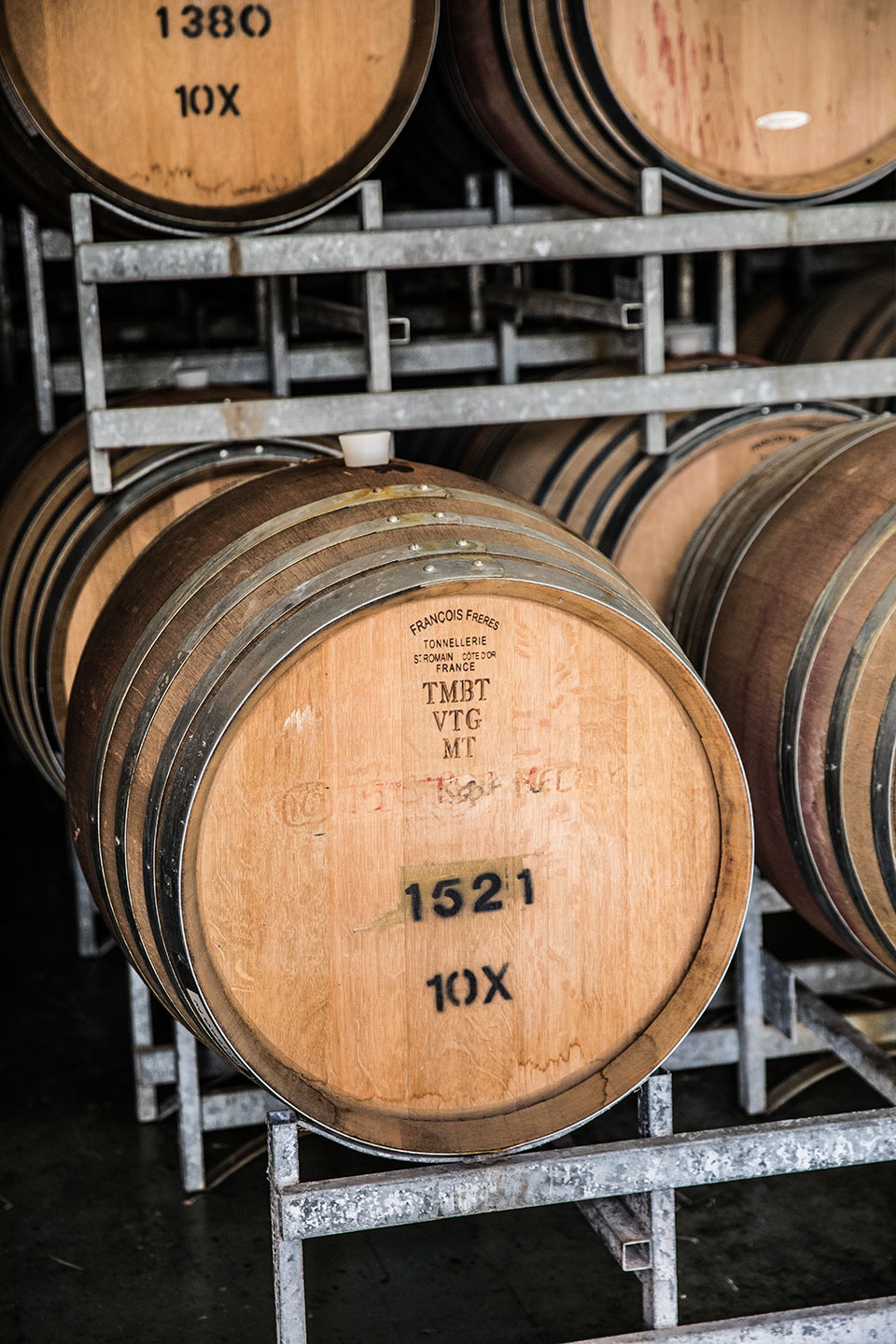 Pinot noir in barrel
