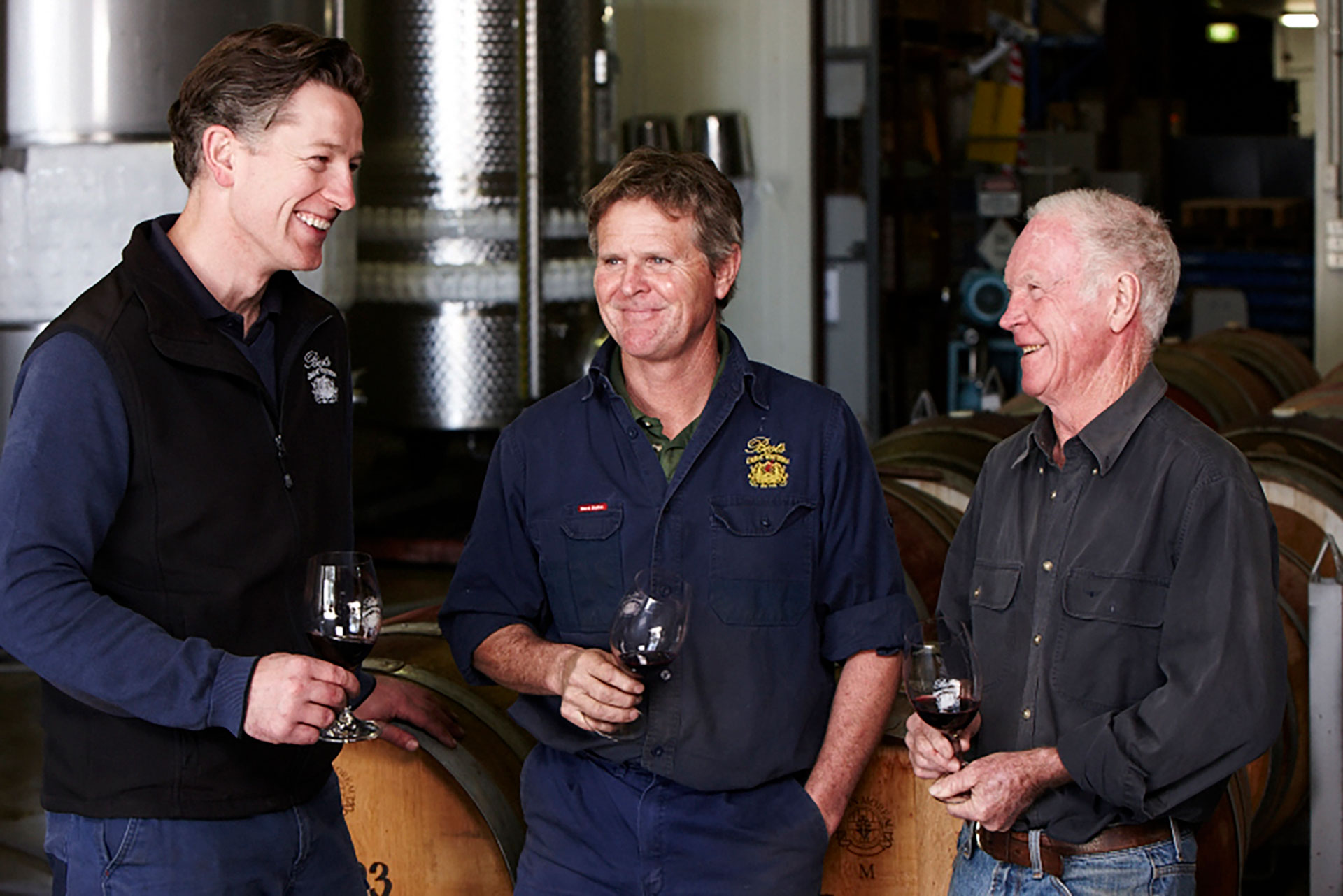 Best's Wine- maker Justin  Purser with Ben  and Viv Thomson
